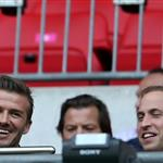 Prince William, David Beckham and his children watch on during the Men's Football first round Group A Match between Great Britain and United Arab Emirates on Day 2 of the London 2012 Olympic Games at Wembley Stadium  121891