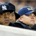 Jay-Z and Leonardo DiCaprio at Yankees vs Rangers October 2010  71237