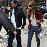 Beyonce in 6 inch heels with Jay-Z lunch at Pastis before heading to Rocawear  36228