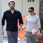 Ben Affleck with a black eye out with wife Jennifer Garner June 2011 100097