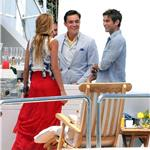 Blake Lively shooting Gossip Girl with Chace Crawford and Ed Westwick  91207