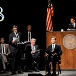Matt Bomer, Matthew Morrison, George Clooney, Jesse Tyler Ferguson, Martin Sheen, Rory O'Malley, and Brad Pitt onstage during the one-night reading of '8' presented by The American Foundation For Equal Rights & Broadway Impact at The Wilshire Ebell Theatre 108115