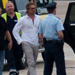 Brad Pitt leaving Kassel after his visit at Documenta 117674