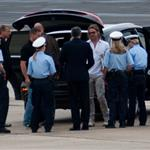 Brad Pitt leaving Kassel after his visit at Documenta 117675