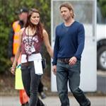 Brad Pitt chats with an attractive PA while on World War Z set 90182