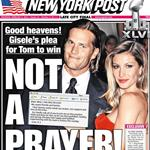 NY Post Front Page Gisele's email for Tommy Brady  104677