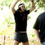 Russell Brand in a ridiculous gym outfit shooting Get Him To The Greek in London 44530