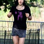 Russell Brand in a ridiculous gym outfit shooting Get Him To The Greek in London 44529