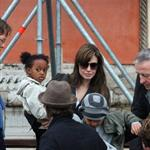 Brad Pitt and Angelina Jolie about and about with the kids in Venice 55820