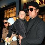 Angelina Jolie and Brad Pitt take twins to art store in New York to help promote The Tourist  74202