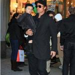 Angelina Jolie and Brad Pitt take twins to art store in New York to help promote The Tourist  74205