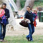 Ben Affleck and Jennifer Garner with daughters at the park  66350