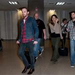 Caleb Followill and pregnant wife Lily Aldridge make their way through LAX 105340