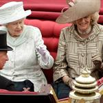 Queen Elizabeth II travels by carriage to Buckingham Palace with Camilla, Duchess of Cornwall and Prince Charles, Prince of Wales after a lunch at Westminster Hall on June 5 116463