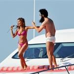 Admiral General Aladeen and Elisabetta Canalis spotted on a luxury yacht at Hotel Du Cap during 65th Annual Cannes Film Festival 114724