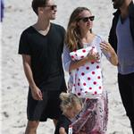 Carey Mulligan on Bondi Beach with  Tobey Maguire and his family 93351