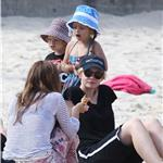 Carey Mulligan on Bondi Beach with  Tobey Maguire and his family 93352