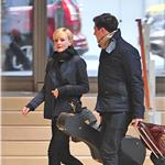 Carey Mulligan and Marcus Mumford walk through an office building in New York  101967