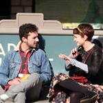 Carey Mulligan and Shia LaBeouf at a bus stop in LA 52192