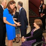 Catherine, Duchess of Cambridge vistis the National Portrait Gallery to attend an Olympic exhibition in London 121174