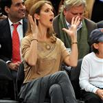 Celine Dion and family at the Knicks game 51898
