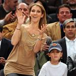Celine Dion and family at the Knicks game 51906