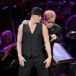 Channing Tatum and Elton John perform on stage at the Revlon concert for the Rainforest Fund at Carnegie Hall  110566