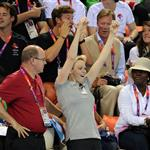 Crown Princess Charlene and Prince Albert of Monaco attend an Olympic swimming event at the 2012 London Olympics 122176