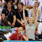 Crown Princess Charlene and Prince Albert of Monaco attend an Olympic swimming event at the 2012 London Olympics 122177