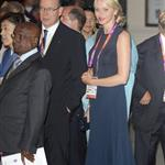 Prince Albert II of Monaco and Princess Charlene of Monaco leave the Royal Opera House after a royal reception and gala for the International Olympic Committee in London 121518