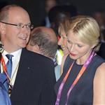 Prince Albert II of Monaco and Princess Charlene of Monaco leave the Royal Opera House after a royal reception and gala for the International Olympic Committee in London 121522