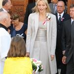 Princess Charlene on official duty alone without Prince Albert in Turbie  95318