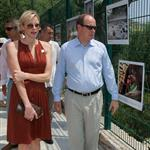 Charlene Wittstock with Prince Albert at a Red Cross event in Monaco 119397