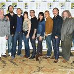 Kim Coates, Ron Perlman, Ryan Hurst, Charlie Hunnam, Maggie Siff, creator Kurt Sutter, Katey Sagal, Theo Rossi, Tommy Flanagan, Mark Boone Junior and Dayton Callie attend 'Sons of Anarchy' press line during Comic-Con 120683