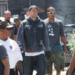 Charlie Hunnam greets fans on the set of Sons of Anarchy 92749