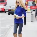 Claudia Schiffer in tall suede boots grabbing coffee in London 87451
