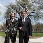 George and his bff John Prendergast yesterday addressing the media after their meeting with President Obama 109061