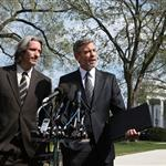 George and his bff John Prendergast yesterday addressing the media after their meeting with President Obama 109062