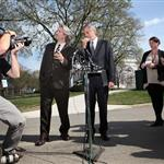 George and his bff John Prendergast yesterday addressing the media after their meeting with President Obama 109068