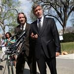 George and his bff John Prendergast yesterday addressing the media after their meeting with President Obama 109069