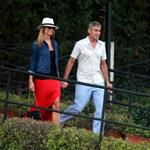 George Clooney and Stacy Keibler take the boat with some friends to tour Como Lake at sunset 118188