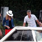 George Clooney and Stacy Keibler take the boat with some friends to tour Como Lake at sunset 118189