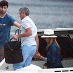 George Clooney and Stacy Keibler take the boat with some friends to tour Como Lake at sunset 118192