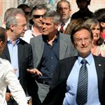George Clooney and Bill Murray visit earthquake region L'Aquila, Italy during G8 Summit 42714