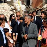 George Clooney and Bill Murray visit earthquake region L'Aquila, Italy during G8 Summit 42710