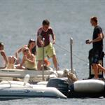 Matt Damn, Brad Pitt, Jennifer Aniston, and George Clooney at Lake Como on June 6, 2004 119272