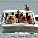 Matt Damn, Brad Pitt, Jennifer Aniston, and George Clooney at Lake Como on June 6, 2004 119273