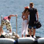 Matt Damn, Brad Pitt, Jennifer Aniston, and George Clooney at Lake Como on June 6, 2004 119275