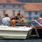Matt Damn, Brad Pitt, Jennifer Aniston, and George Clooney at Lake Como on June 8, 2004 119287