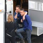 Colin Farrell and Sam Rockwell on the set of Seven Psychopaths in Los Angeles 101724